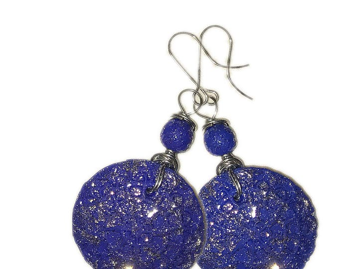 """Event  Style round Blue Metallic Earrings.""""FROZEN"""".Studio made.Gift idea.Unique jewelry.Unique beautiful earrings.Polymer clay,silver wire."""