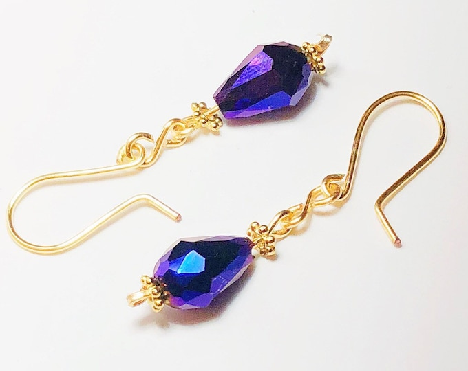 Purple Drop Crystal Swarovski Earring Silver Gold plated, Earring on sterling silver hook Gold Plated.