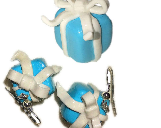 Earring gift  Box for Her Earring,Gift idea.Earrings signature white ribbon.Mint  color.