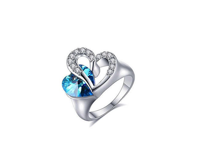 Sterling Silver Blue Heart Ring,Romantic Woman Ring,Engagement Ring.Sterling Silver Blue Zircon.Two Hearts Ring.Zircon December Gemstone.