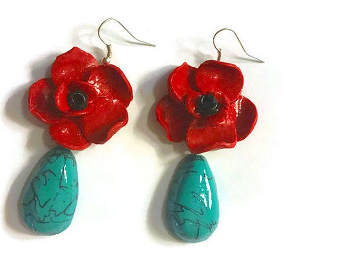 Red Flowers Earrings with Drop Turquoise Pendant.Earrings. Fashion polymer clay Beautiful flower EARRINGS,jewelry Polymer clay.Gift idea.