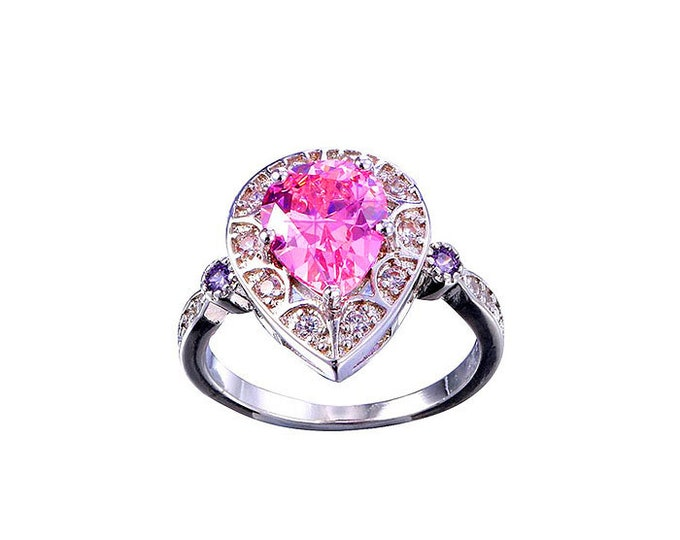 Sterling Silver 925 Ring Pink Gemstone.Amazing Sapphire both sides Ring. BeautySterling Silver Ring, sexy,feminine,Pear shape Pink Topaz.