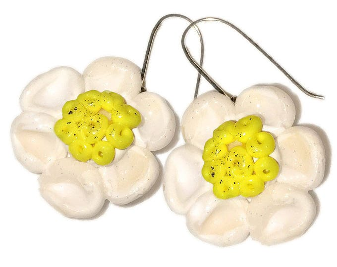 "Summer Style Flowers Earrings.""SPRING FLOWERS"".Studio made.Gift idea.Unique jewelry. Unique beautiful earrings.Silver wire,polymer clay"