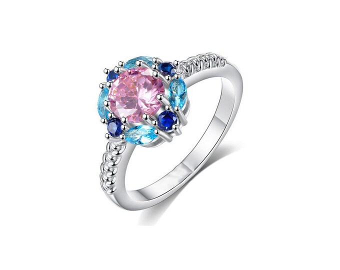Sterling Silver Ring Multi-Gemstone CZ,Romantic Woman Ring Pink&Blue CZ,Engagement Ring.