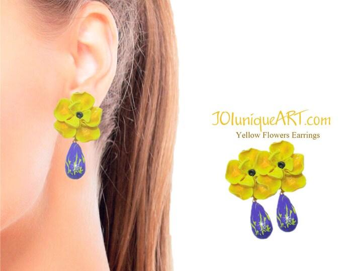 Yellow Flowers Earrings with Drop Purple Pendant.Earrings. Fashion polymer clay Beautiful flower EARRINGS,jewelry Polymer clay.Gift idea.