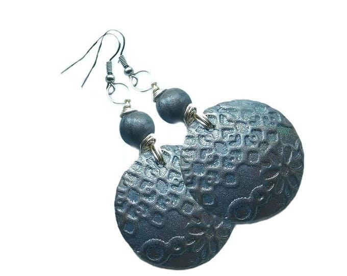 Fancy Style round Gray Stone Metallic Earrings.Studio made.Gift idea.Unique jewelry. Unique beautiful earrings.Polymer clay.Silver wire.