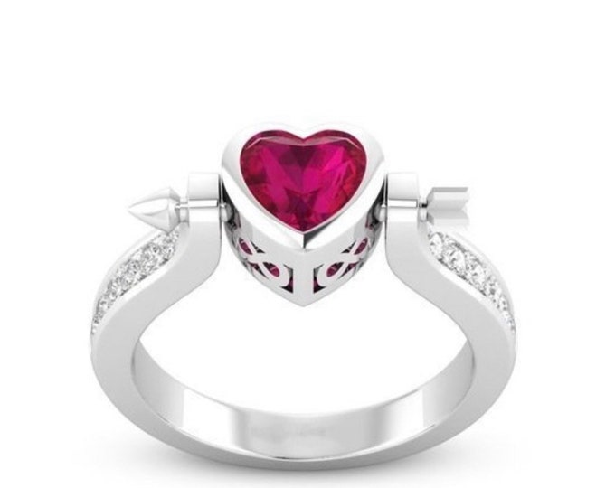 Cupid Arrow Ring. Jewelry Heart. Ruby Heart Ring. Silver Ring. Valentine gift.