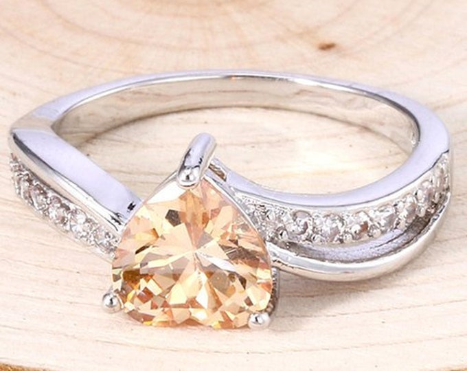 Sterling Silver yellow Heart Ring,Romantic Woman Ring,Engagement Ring.Elegant Princess-cut 1.5 ct Morganite Sterling Silver.Impress  Beauty!