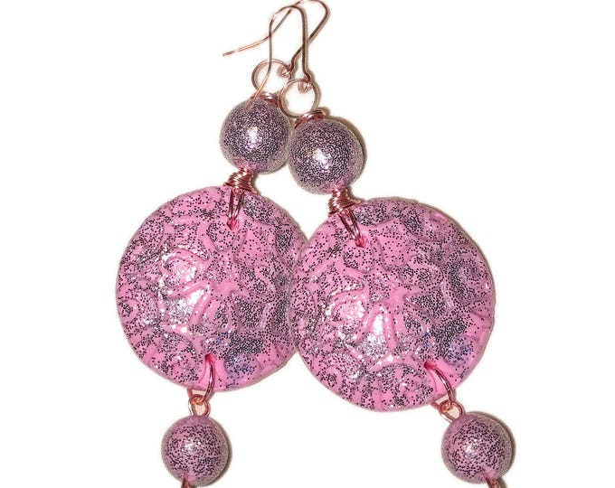 Round Pink  dangle Earrings,jewelry polymer clay,flower girl earrings,bride earrings,