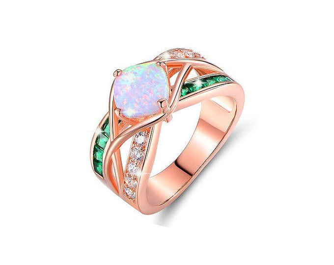 Engagement Ring 18K Rose Gold-plated.Opal Crisscross Engagement Ring Cushion-cut Fire opal Princess-cut  emerald Round-cut cubic zirconia.