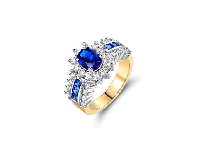 Gold Plated with Sterling Silver Ring,Sterling Silver Ring Blue Sapphire,Romantic Woman Blue ring,Engagement Ring,Swarovski Crystal accents.