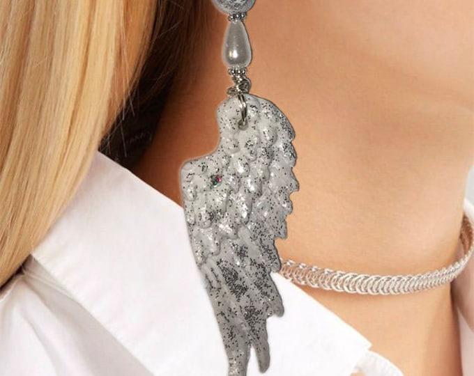 Angel Wings Earrings.Party style earrings.Studio made.Polymer clay.Gift idea.Unique jewelry. wings earring.Fashion earrings.Silver wire.