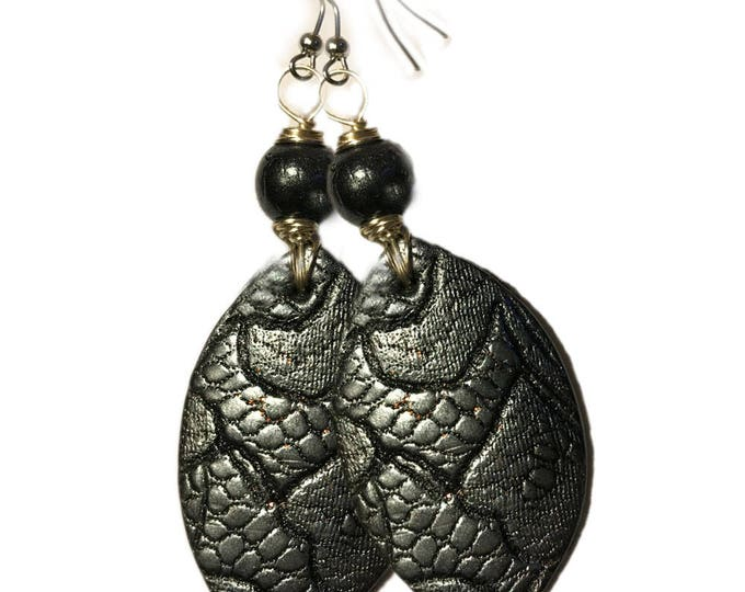 """Black Lace Drop  Metallic Earrings.""""Real Lace"""".Studiomade.Polymer clay.Gift idea.Unique jewelry. Unique beautiful earrings."""