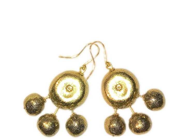 Metallic Gold Ball Drop Earrings,Boho,Jewelry Lightweight balls,shimmering gold dust.Gift idea.Unique jewelry,.earrings gold balls.
