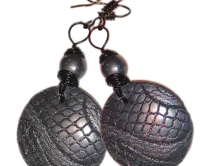 "Black  Metallic Earrings.""Black Leather"".Studio made.Polymer clay.Gift idea.Unique jewelry. Unique beautiful earrings.Black round Earrings."