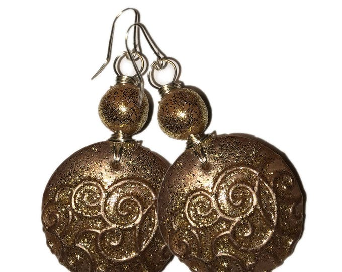 Round Circle Dangle Gold Metallic Earrings.Polymer clay Earrings.Gift idea.Unique jewelry Handmade.