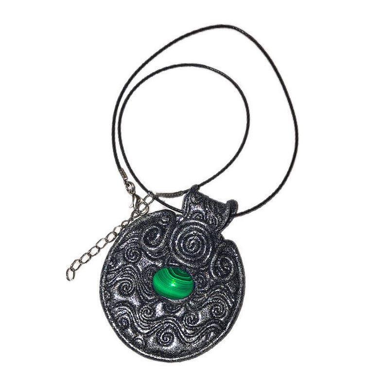 Green Gemstonehand made jewelry polymer clay  diyboho style image 0