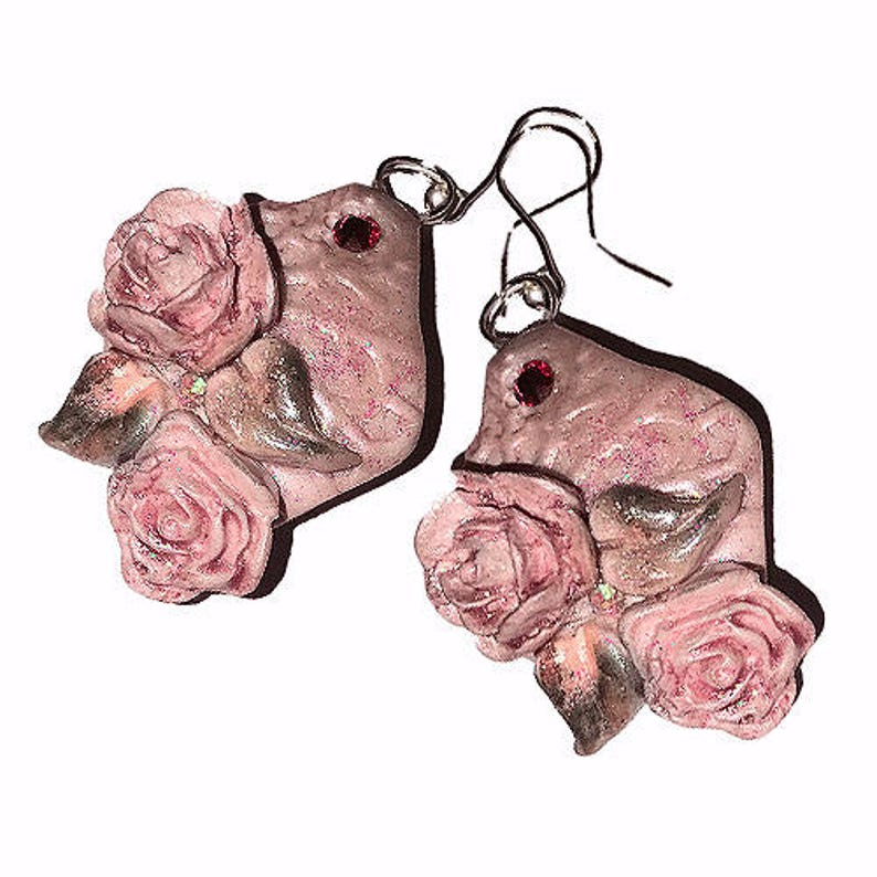 Drop Earrings.HANDCRAFTED Fashion polymer clay Beautiful image 0