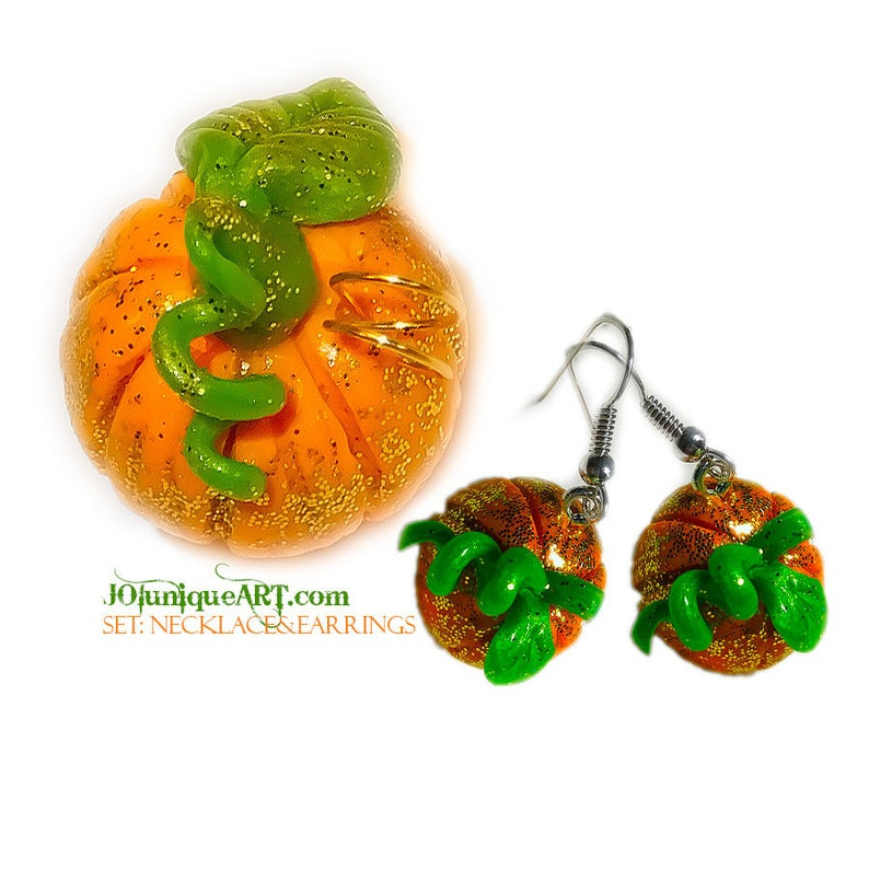 Set EarringsNecklace Pumpkin.Inspired by the real image 0