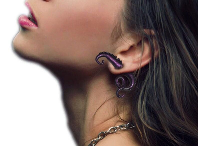 Ear tentacles.Earrings Octopus.Quaint Unique Style.Earrings Octopus Tentacles.Studio made.Polymer clay.Gift idea.Unique beautiful earrings.