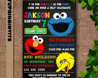 Sesame Street Birthday Invitation/Sesame Street Birthday/Sesame Street Invitation/Sesame Street Invitation Digital/Sesame Street