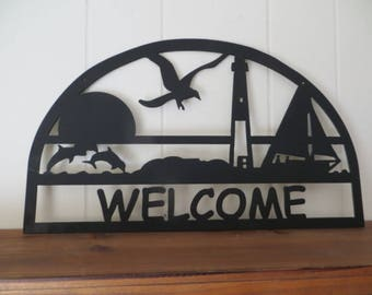 Lighthouse CNC Custom Plasma Cut Metal  Welcome Sign,Entry Sign,Beach House Decor,Gift