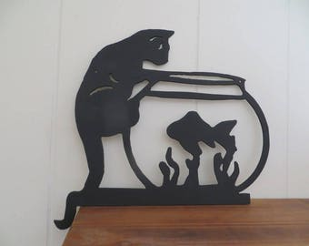 CNC Plasma Cut Cat with Fishbowl Metal Art Sign,Wall Art Hanging,Gift for Cat Lovers
