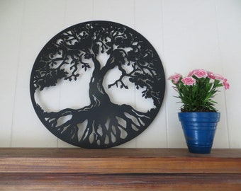 "Tree Of Life 18"" Circle CNC Plasma Cut Metal Art Wall Hanging,Home Decor,Family Decor,Wedding Gift,Metal Sign,Custom Metal Sign"