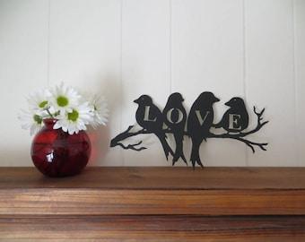 Love Birds CNC Plasma Cut Metal Art Wall Hanging,Wedding/Anniversary Gift,Home Decor Signs