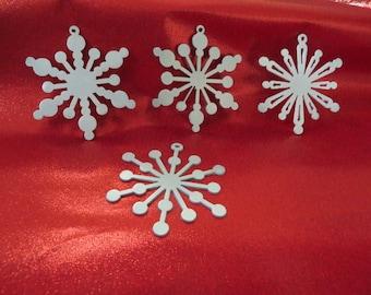 Snowflake Ornaments,Set of 4 Plasma Cut Metal,Pearl White Ornaments,Tree Ornaments,Window Ornaments