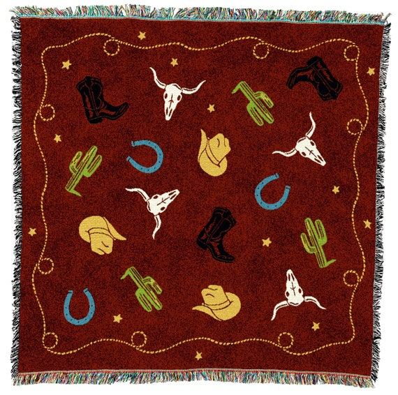 Yeehaw Yellowstone Tapestry Throw, Southwest Woven Blanket, Tribal Camp Throw 100% Cotton Made in USA 54x54