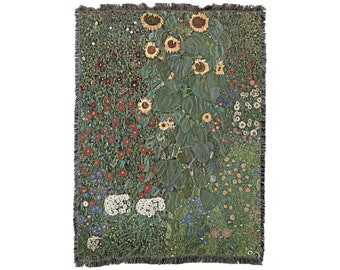 Farm Garden with Sunflowers by Gustav Klimt Blanket Throw, Woven from Cotton - Made in The USA (72x54)