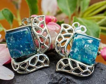 Beautiful Vintage Blue Confetti Glass Clip On Earrings
