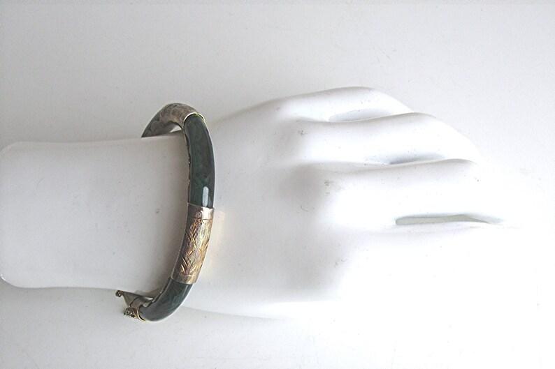 Malachite Hinged Bangle Bracelet Gold Plated