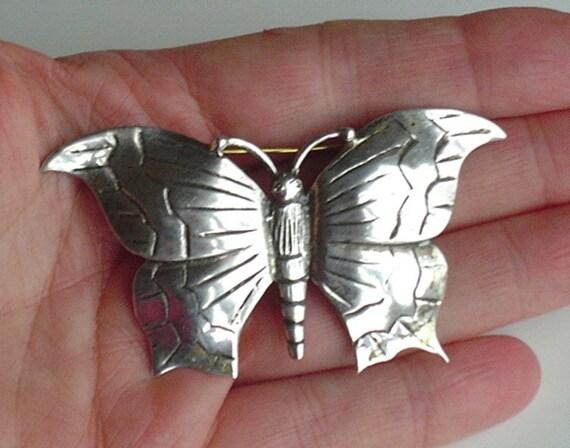 Sterling Butterfly Brooch Huge Vintage Sterling Si