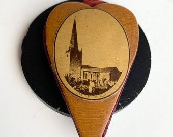 Antique Mauchline Ware Pincushion, Bangor Church Graphic