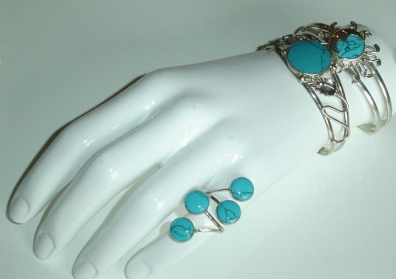 Sterling Turquoise Bracelet Mexican Sterling Silver Sun and Crescent Moon Cuff Bracelet