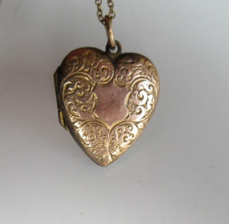 Antique Heart Locket Etched Gold Filled Locket