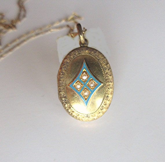 Antique 9K Gold Locket with Blue Enamel and Seed P