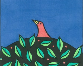 Bird relief print, limited edition, colourful print, birthday gift, linocut print, hand-coloured with watercolours