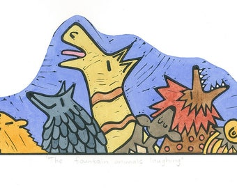 Laughing animals relief print, limited edition, nursery wall art, block print hand-coloured with watercolours
