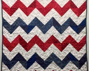 Red White and Blue Chevron quilt