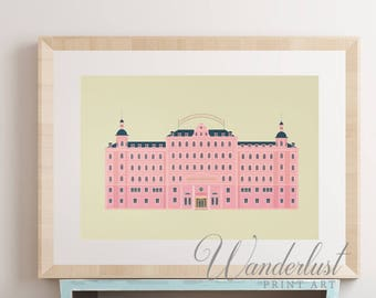 Grand Budapest Hotel print Wes Anderson movie poster vintage budapest hotel poster film wes anderson print pink architecture pastel