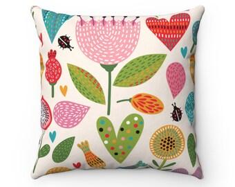 Boho pillow case nursery decor kids pillow cover baby shower gift boho flowers throw pillow spun polyester colorful Kids Bedroom Decor