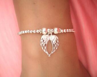 Tiny Wing Bracelet-Minimalist Angel Wing Charm-Red String Wishing Bracelet-Teeny Tiny Wing Minimalist Bracelet-Simple Bracelet-Gift Under 25