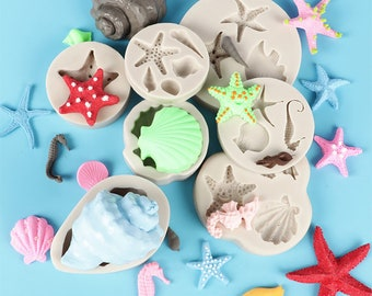 Sea Stars Sea Shells Silicone Mould 746m Candy Chocolate Clay Jewelry