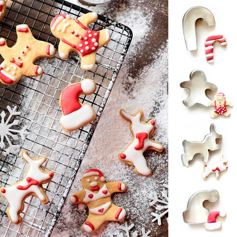 4pcs Set Christmas Cookie Cutters Cup Hanging Biscuits Fondant Biscuit Mold Pastry Baking Tool Set