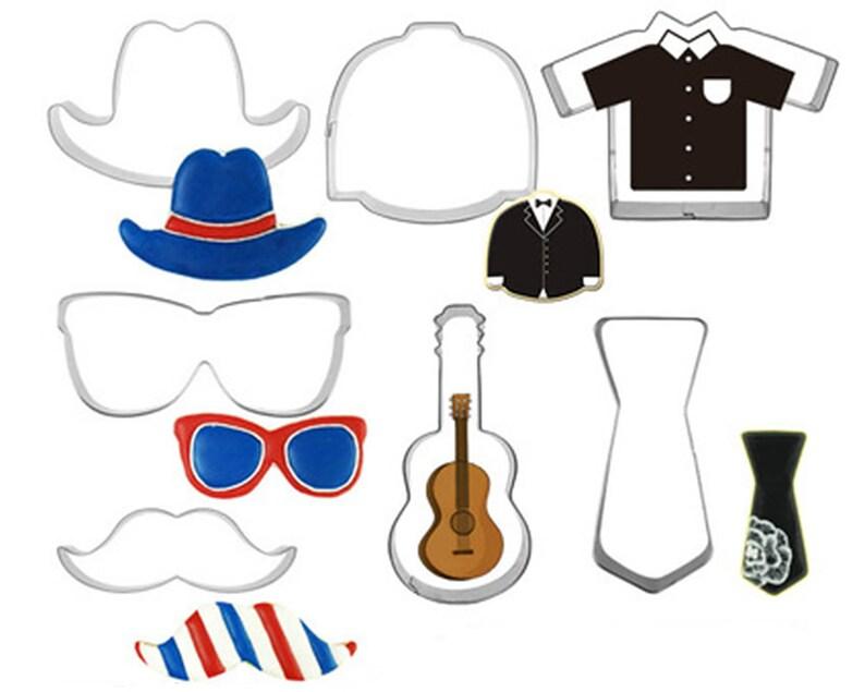 7pcsset Gentleman Cookie Cutters Fondant Biscuit Mold Hat Suit Moustache Tie Pastry Baking Tool Set Glasses
