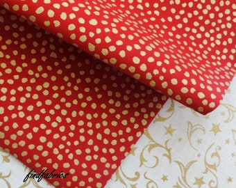 Holly Cream NOEL Metallic Xmas Fabrics 140cm ~ Lightweight ~ Per Long Quarters