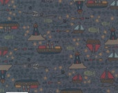 CLEARANCE Ship to Shore 706901-71 Boats by Lynette Anderson Fabric Collection Per Long Quarter Metre Yard (Add 4 in Qty Box)